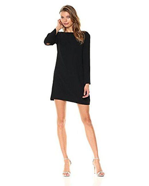 Halston Heritage - Black Long Sleeve Metallic Insert Cowl Neck Crepe Dress - Lyst
