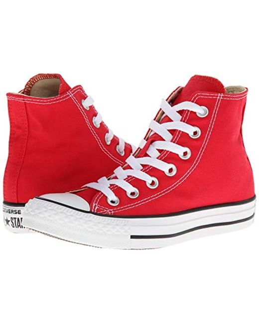 5a093312821d ... Converse - Red Chuck Taylor All Star Canvas High Top Sneaker for Men -  Lyst ...