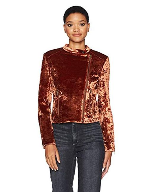 James Jeans - Red Velvet Harley Jacket In Amber Crushed - Lyst