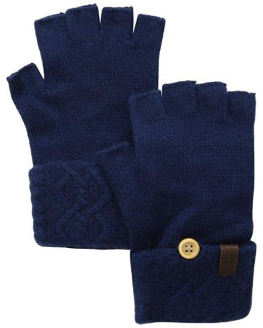 True Religion - Blue Cable Knit Fingerless Glove - Lyst