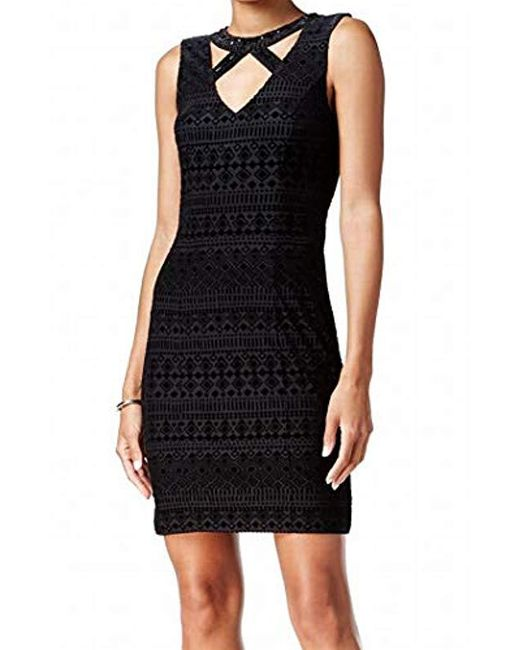 Guess - Black Velvet Burnout Dress With Neck Detail - Lyst ... 7466e3050
