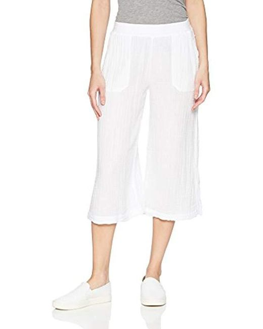 Three Dots - White Double Gauze Mid Loose Pant - Lyst