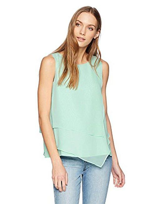 CALVIN KLEIN 205W39NYC - Blue Sleeveless Top With Asymmetrical Hem - Lyst