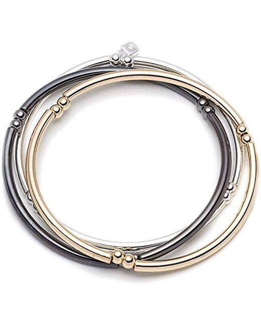 Nine West - Metallic Classics Tri-tone Trio Stretch Bracelet - Lyst