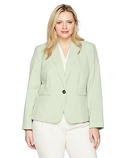 Nine West - Green Plus Size Bi Stretch 1 Button Jacket With Notch Collar - Lyst