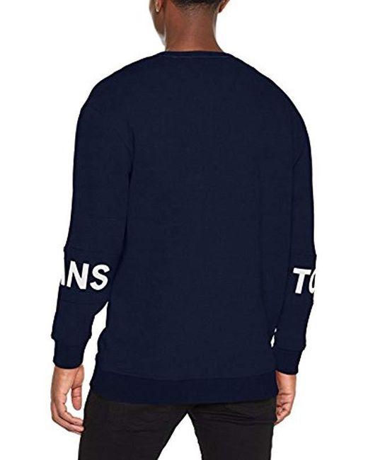 15fadfa8 ... Tommy Hilfiger - Blue Essential Banded Logo Crew Short Sleeve  Sweatshirt for Men - Lyst ...