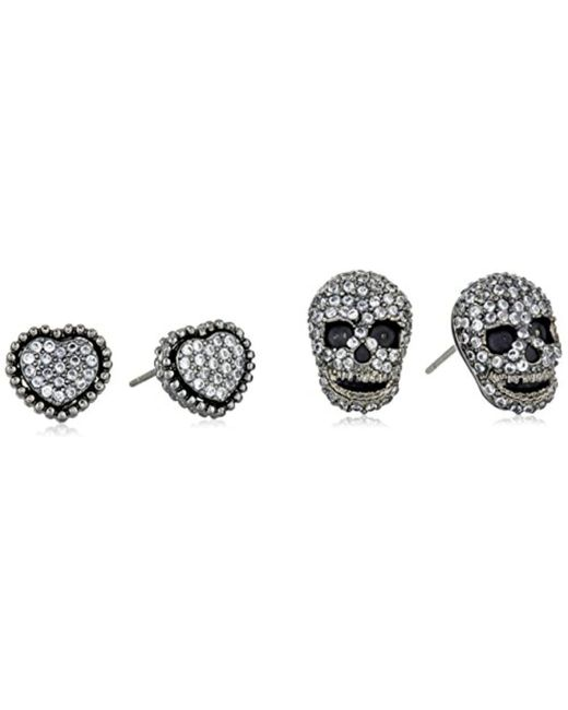 Betsey Johnson - Multicolor Cubic Zirconia Pave Heart And Skull Duo Set Of Stud Earrings - Lyst