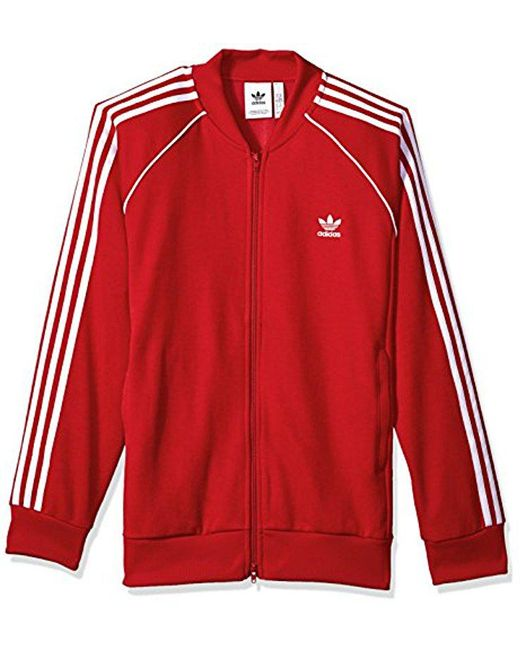 3bba6a58b451 Lyst - adidas Originals Superstar Track Jacket in Red for Men - Save 38%