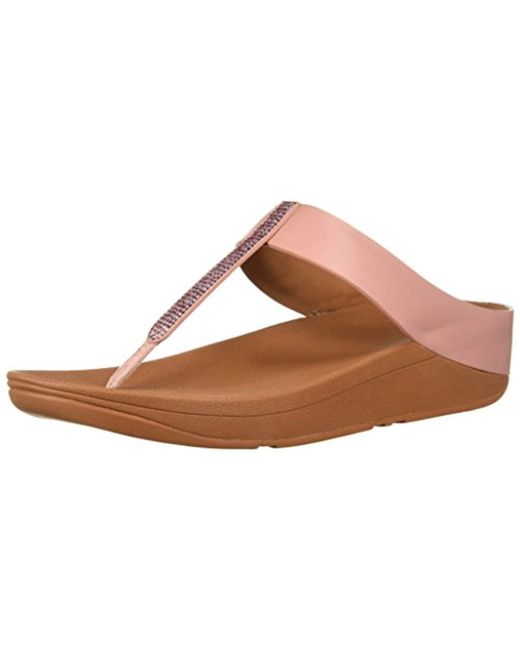 a828efc2187 Fitflop - Brown Fino Crystal Toe-thong Sandals - Lyst ...