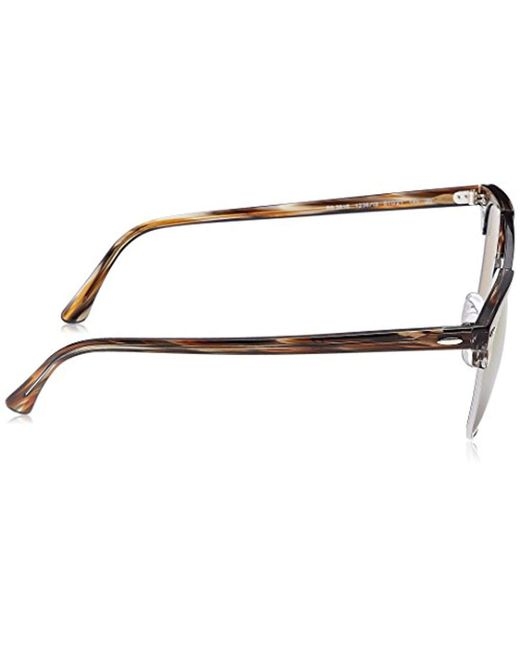 55872730acc ... Ray-Ban - Clubmaster Double Bridge Sunglasses In Striped Brown Silver  Brown Mirror Rb3816 1238i3 ...