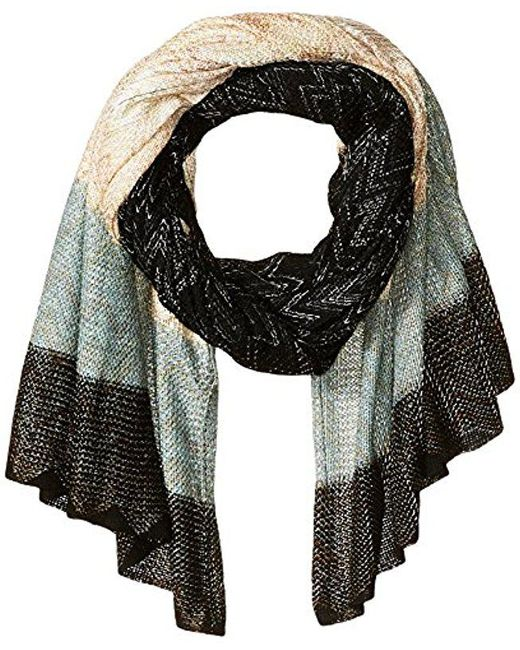 BCBGMAXAZRIA - Black Chevron Knit Wrap - Lyst