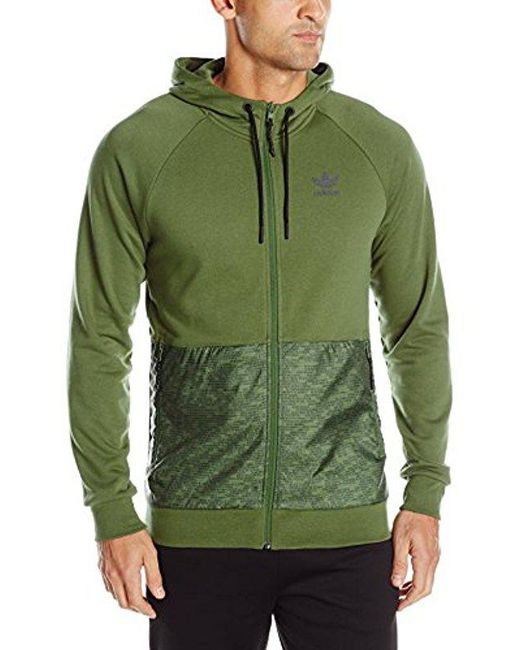 0fa29b8bdb1d Adidas Originals - Green Sport Luxe Mixed Fabric Full Zip for Men - Lyst ...