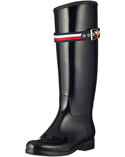 56b053fa6a5b1 Tommy Hilfiger Corporate Belt Long Rain Boot High in Black - Save 59 ...