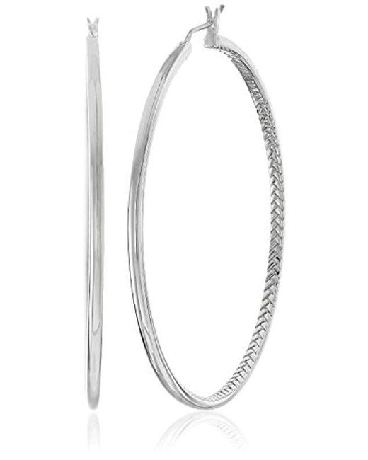 Cole Haan - Metallic Metal Basic Basket Weave Hoop Earrings - Lyst