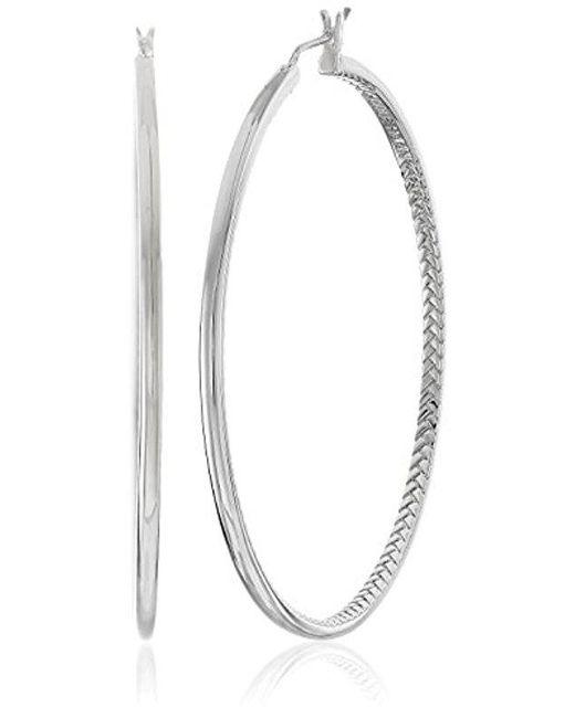 """Cole Haan - Metallic """"metal Basic"""" Basket Weave Hoop Earrings - Lyst"""