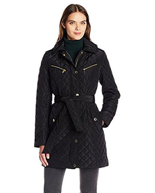 London Fog - Black Snap Front Quilt With Tie - Lyst