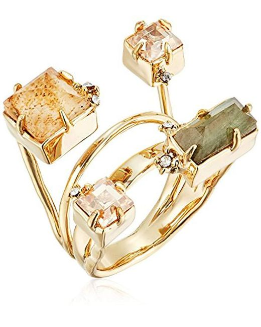 Alexis Bittar - Metallic Geometric Multi Stone With Satellite Crystal Detail Ring - Lyst
