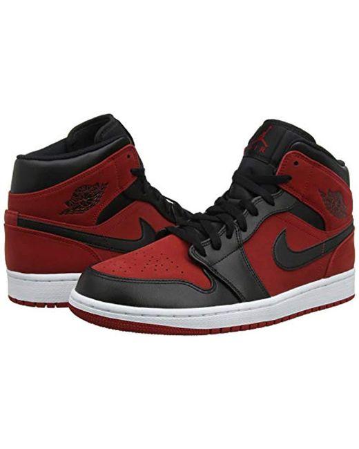 d8122b27471d04 ... Nike - Red Air Jordan 1 Mid Sneakers Black white for Men - Lyst ...