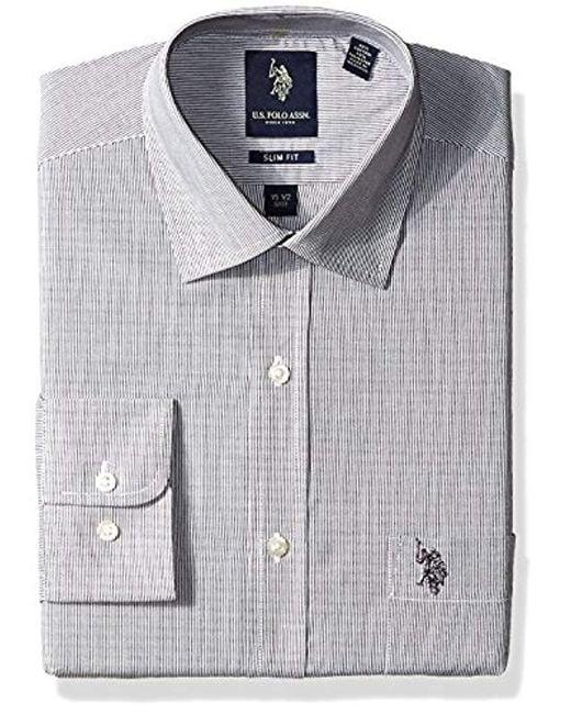 U.S. POLO ASSN. - Black . Hairline Stripe Semi Spread Collar Dress Shirt for Men - Lyst