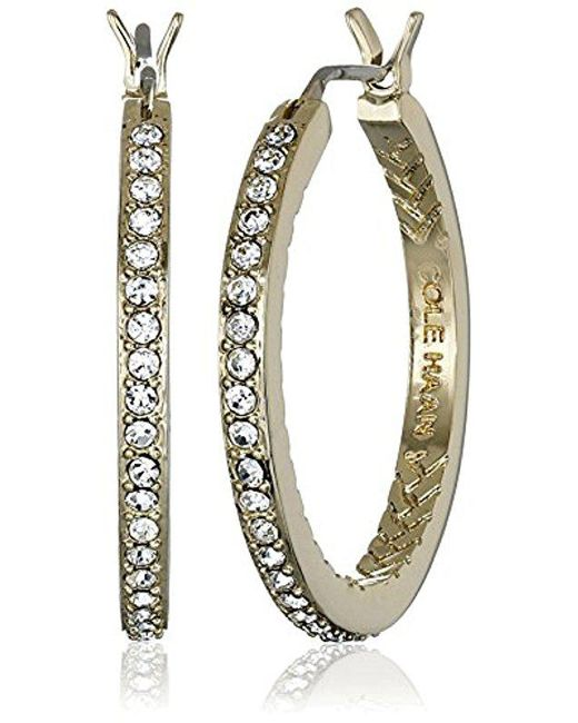 Cole Haan - Metallic Look Of Real Basics Pave Medium With Basket Weave Hoop Earrings - Lyst