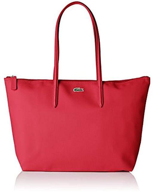 Sac Cabas Toile Pvc Femme, Bandouliere Lacoste en coloris Pink