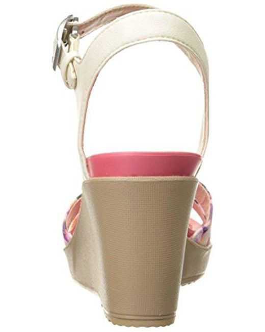 949320ee59 Crocs™ Leigh Ii Ankle Strap Wedge in Pink - Save 37% - Lyst