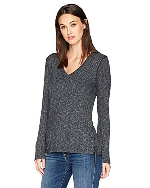 Michael Stars - Gray Jasper Poorboy Long Sleeve V-neck Laced Side Top - Lyst