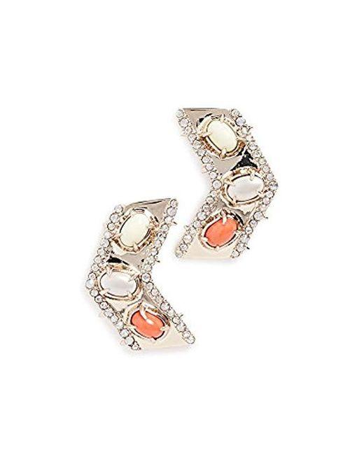 Alexis Bittar - Metallic Chevron Cabochon Post Earrings - Lyst