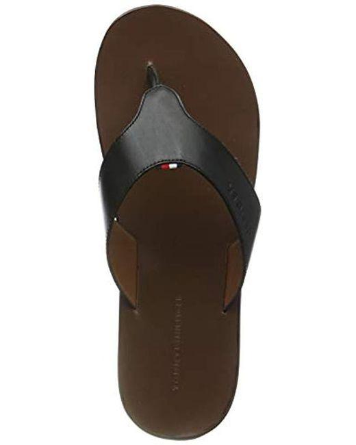 7e96662bd Tommy Hilfiger - Black Hilfiger Leather Sandal Flip Flops for Men - Lyst ...