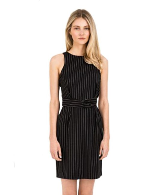 Finders Keepers   As You Are Twist Dress In Black Pinstripe   Lyst