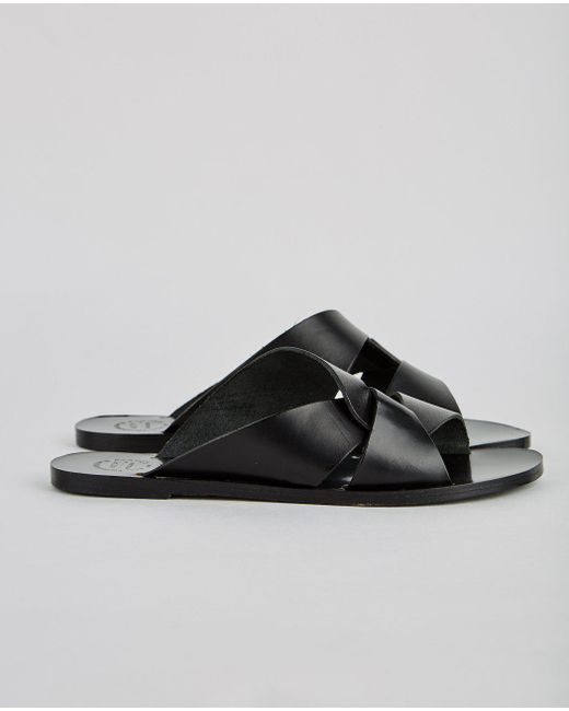 Atp Atelier - Black Allai Leather Cross Sandal - Lyst