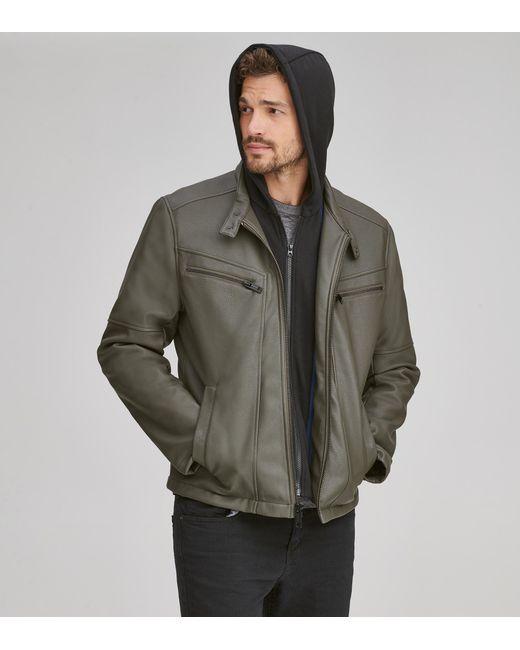 Andrew Marc - Black Corbett Faux Leather Moto Jacket for Men - Lyst ... 11dc402e1