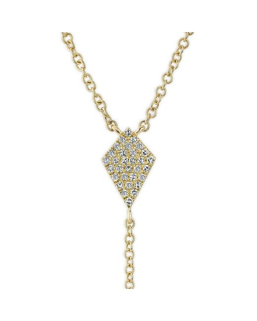 Anne Sisteron | Metallic 14kt Yellow Gold Diamond Shield Flirt Lariat Necklace | Lyst