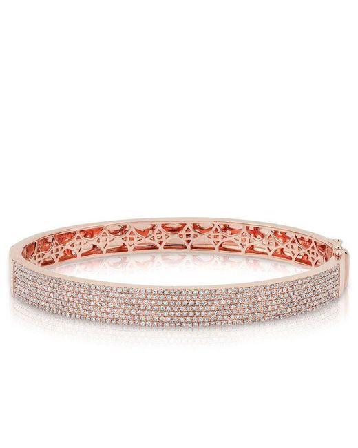 Anne Sisteron - Pink 14kt Rose Gold Diamond Belle Half Pave Bangle - Lyst