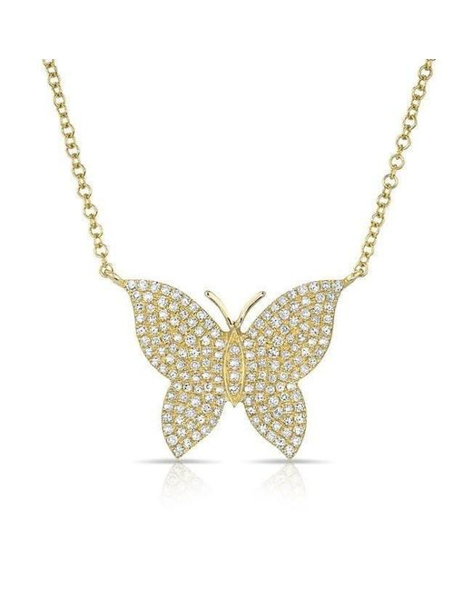 Anne Sisteron | Metallic 14kt Yellow Gold Pave Diamond Butterfly Necklace | Lyst