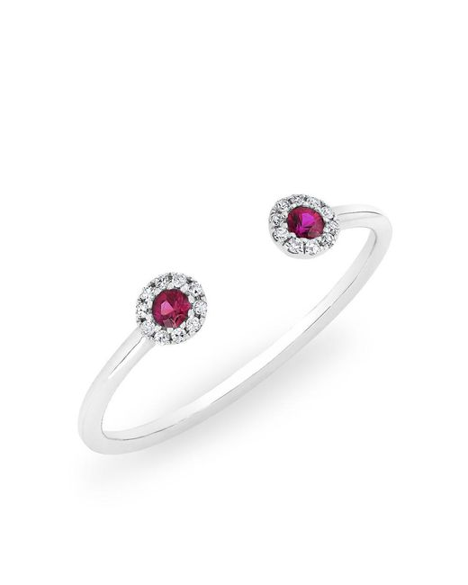 Anne Sisteron | Multicolor 14kt White Gold Diamond And Ruby Open Sally Ring | Lyst