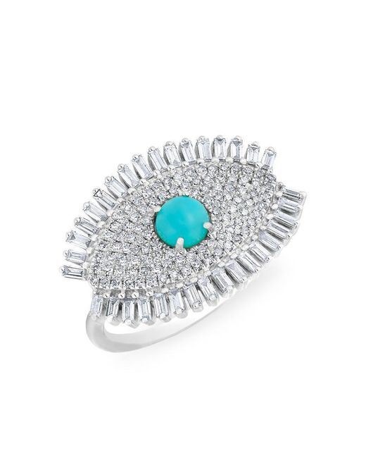 Anne Sisteron | Multicolor 14kt White Gold Baguette Diamond Turquoise Evil Eye Gypsy Ring | Lyst