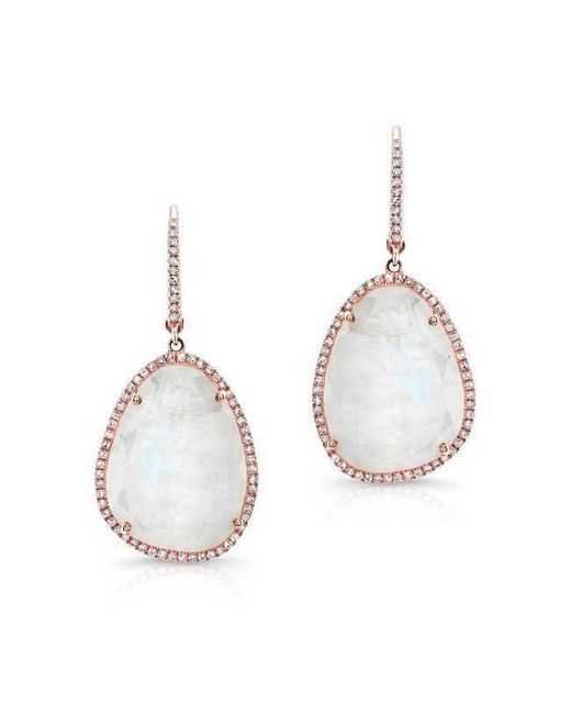 Anne Sisteron - Metallic 14kt Rose Gold Organic Moonstone Diamond Earrings - Lyst