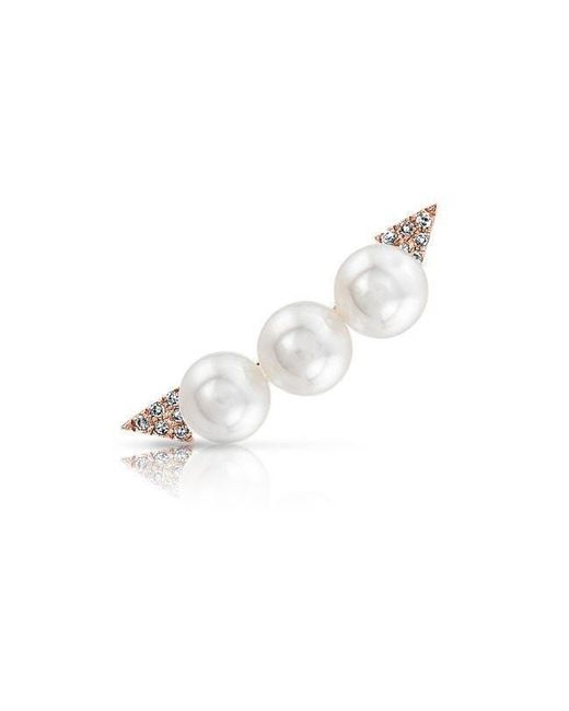 Anne Sisteron | Multicolor 14kt Rose Gold Pearl And Diamond Ear Climber | Lyst