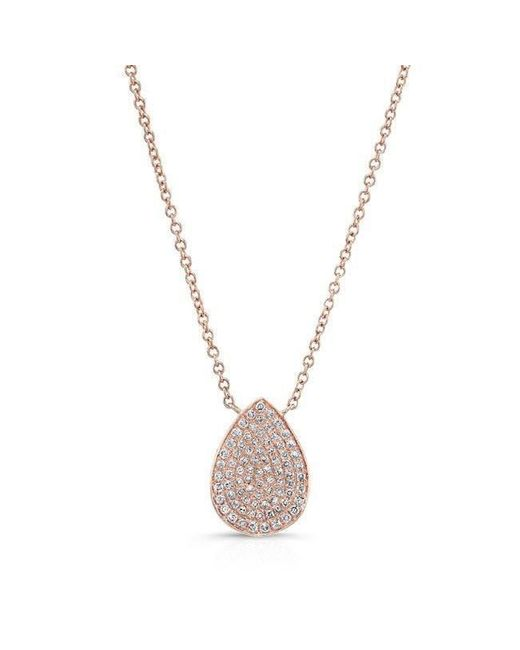 Anne Sisteron - Metallic 14kt Rose Gold Diamond Medium Pear Shaped Necklace - Lyst