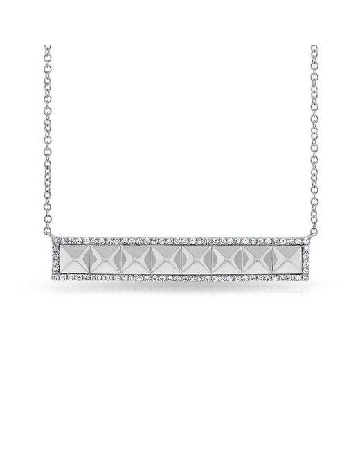 Anne Sisteron - Metallic 14kt White Gold Diamond Pyramid Bar Necklace - Lyst