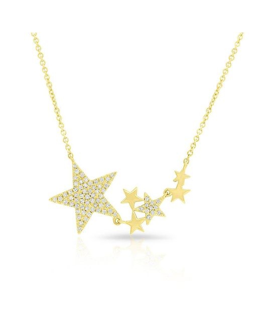 Anne Sisteron - Metallic 14kt Yellow Gold Diamond Star Necklace - Lyst