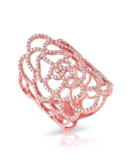 Anne Sisteron - Pink 14kt Rose Gold Diamond Camellia Flower Ring - Lyst