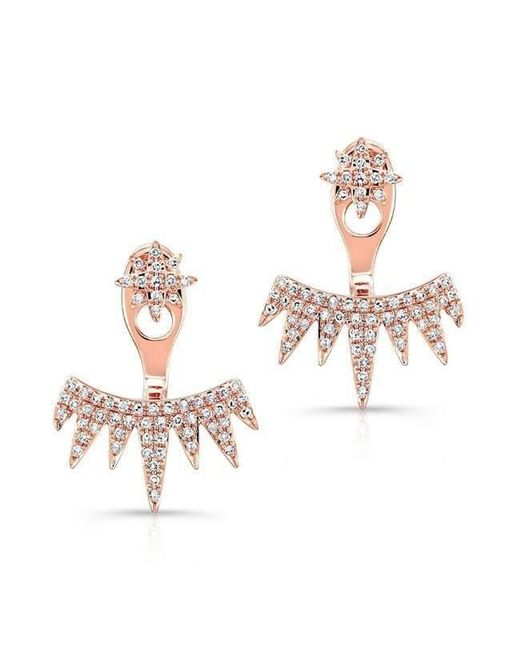 Anne Sisteron Multicolor 14kt Rose Gold Diamond Spiked Tiara Floating Earrings Lyst