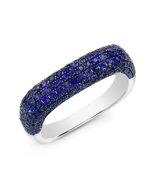 Anne Sisteron | 14kt White Gold Blue Sapphire Square Ring | Lyst