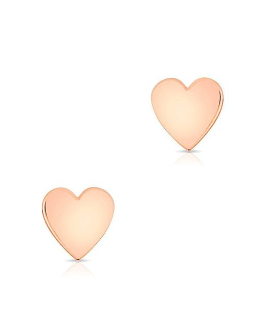 Anne Sisteron - Multicolor 14kt Solid Rose Gold Heart Stud Earrings - Lyst