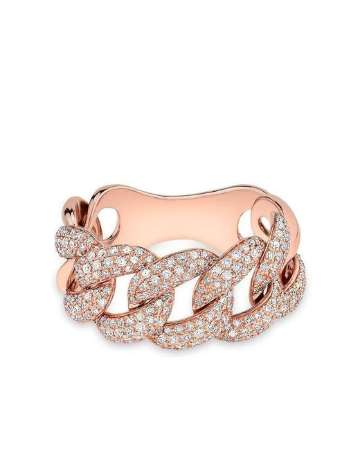 Anne Sisteron - Pink 14kt Rose Gold Luxe Light Diamond Chain Link Ring - Lyst