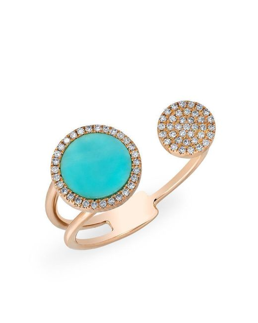 Anne Sisteron - Multicolor 14kt Rose Gold Diamond Turquoise Disc Nikki Ring - Lyst