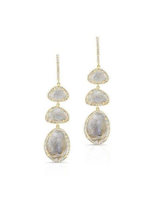 Anne Sisteron - Metallic 14kt Yellow Gold Labradorite Diamond Trickle Earrings - Lyst