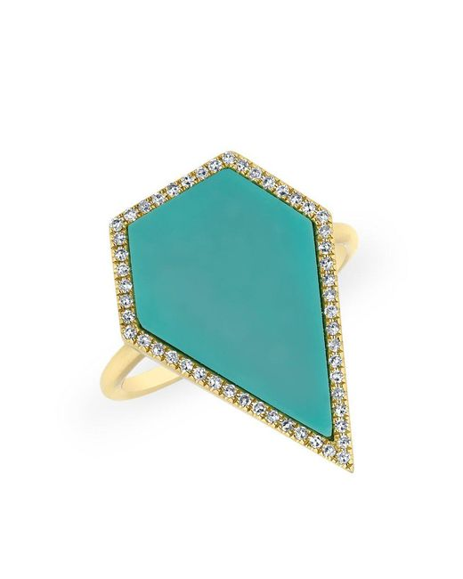 Anne Sisteron - Blue 14kt Yellow Gold Diamond Turquoise Sophia Ring - Lyst